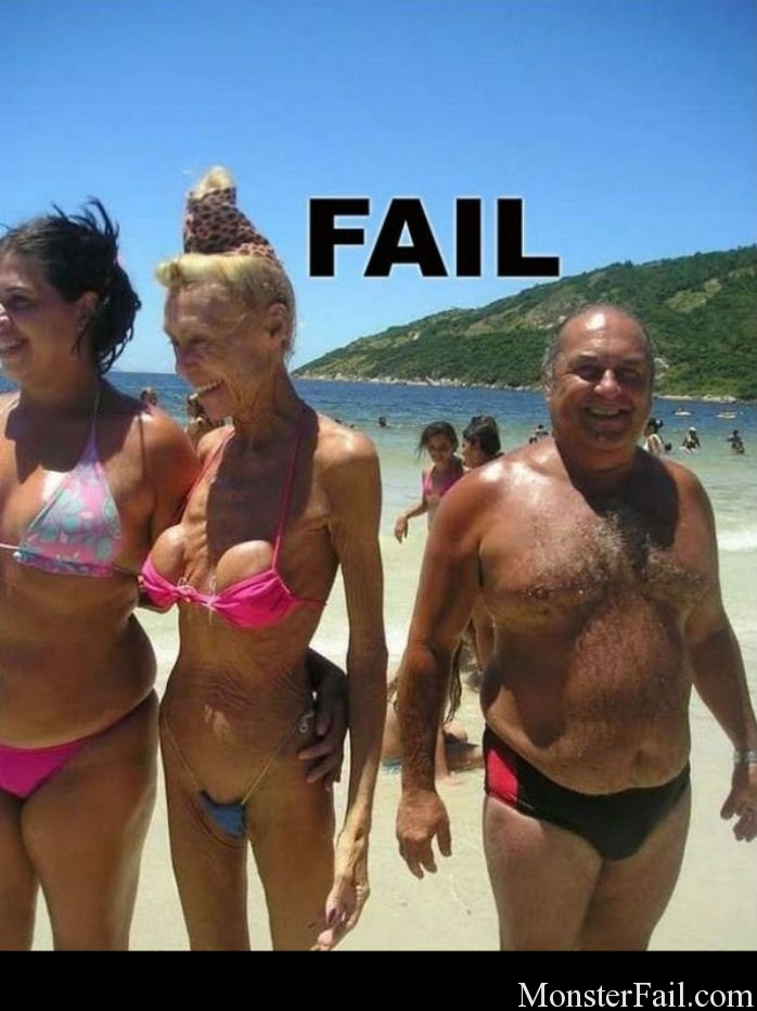 Old Woman Bikini Fail.  Come on don't do this!