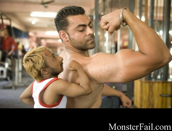 Little Body Builder Fail. Steroids needed
