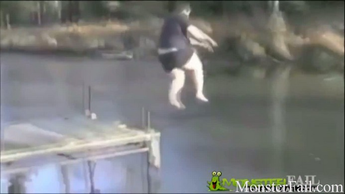 Fat kid jumps into frozen lake. FAIL.