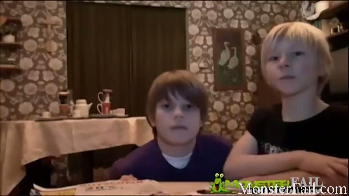 Evil brother tries to do a tablecloth trick but something goes very wrong.