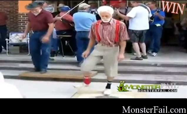 Granpa Super Shuffling. He's got some moves.