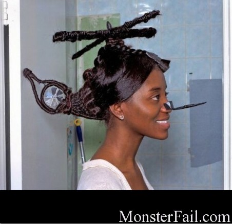 Hair fail.  This chick thinks she is fly.  FAIL