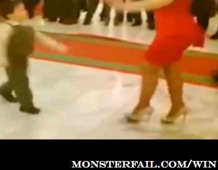 Kid Ownes dance floor with hot girl in red dress