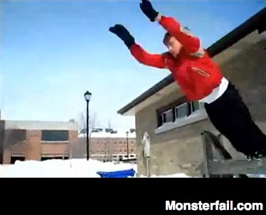 Jumping into the snow fail.